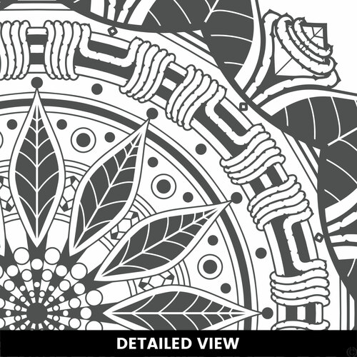 Detailed pictured of The Francis mandala wall decal shown here in the dark grey vinyl color.