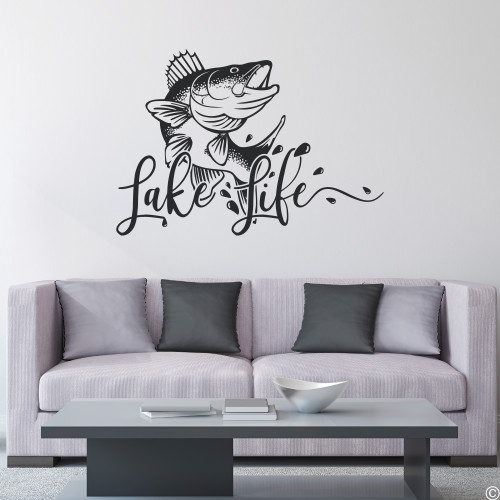 The Lake Life with walleye fish wall decal, shown here in black vinyl color.