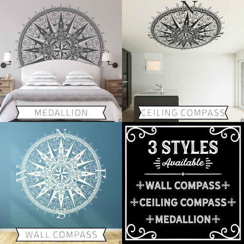 The Sherlock compass is available in 3 styles; wall compass, ceiling compass, or medallion with no coordinate letters.