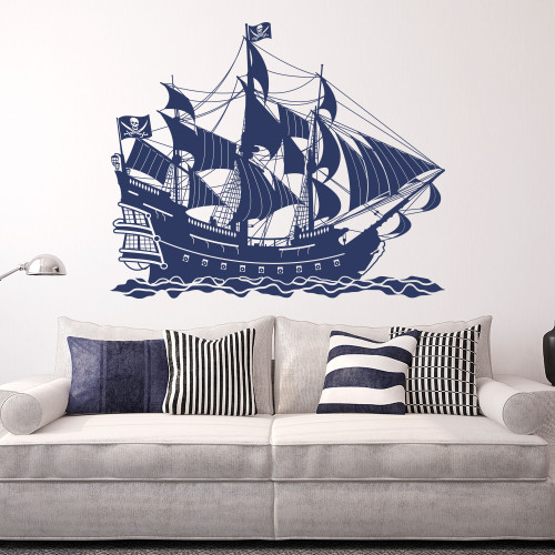 Super cool pirate ship wall decal shown here in dark blue.