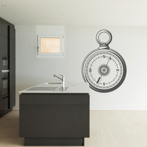Pocket compass wall decal in dark grey color.