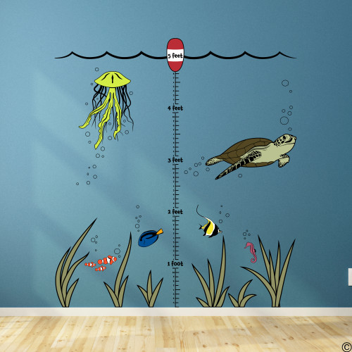 Under the sea growth ruler wall decal. Comes with 5 foot ruler, 1 buoy, waves, 1 sea turtle, 3 clown fish, 1 jellyfish, 6 seaweed tuffs, 1sea horse, 1 surgeonfish, 1 moorish idol fish, and a bunch of bubbles. Place them however you want or as seen here.