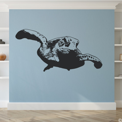 Sea Turtle wall decal in black vinyl color.