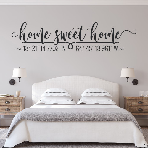 Home Sweet Home wall decal with customizable DMS coordinates in black vinyl color.