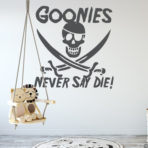Goonies Never Say Die wall decal quote with jolly roger pirate skull in dark grey vinyl color.