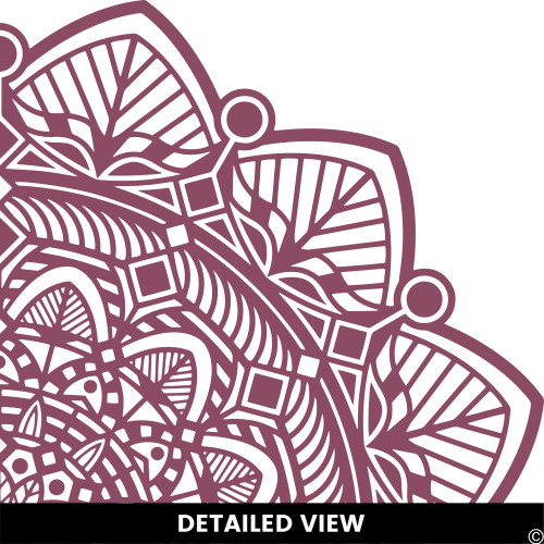 Detailed view of the Taj mandala wall decal shown here in the limited edition plumberry vinyl color.