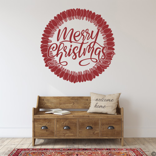 Merry Christmas Light Bulb Wreath wall decal shown here in dark red vinyl.