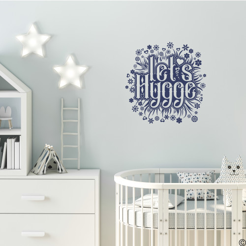 The Let's Hygge wall decal quote in dark blue vinyl color.