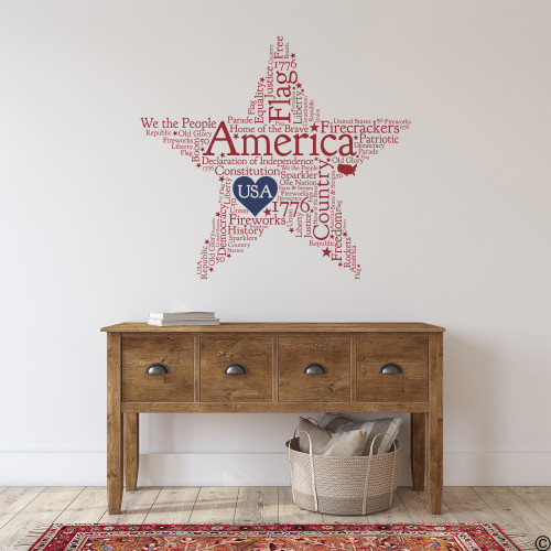American Star word quote decal in dark red with dark blue vinyl heart.