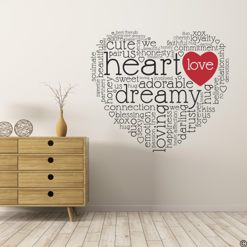 The dreamy heart wall decal quote in black with red vinyl love heart.