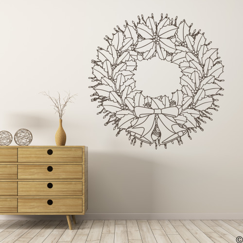 Christmas holly wreath with ribbon and bells, holiday wall decal in brown vinyl.