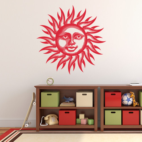 The smiling sun wall decal in dahlia red vinyl.