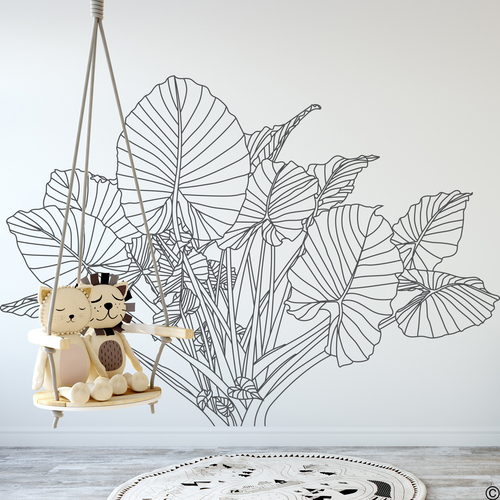The Elephant Ear plant wall decal drawing in dark grey vinyl.