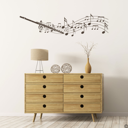 Flute with musical notes wall decal in brown vinyl color.