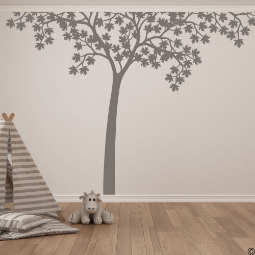 Maple tree wall decal shown here in limited edition castle grey vinyl color.