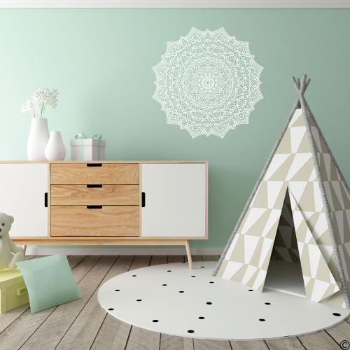 The Samir mandala wall decal shown here in white vinyl color.