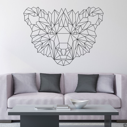 The Geometric Bear Face wall decal shown here in black vinyl color.