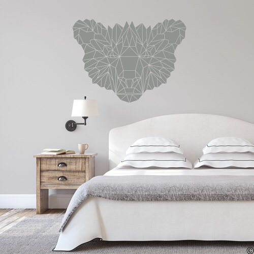 The Geometric Bear Face wall decal shown here in middle grey vinyl color.