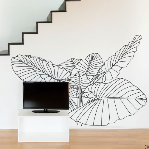 The Elephant Ear no.2 tropical plant wall decal, wire frame drawing in black vinyl.
