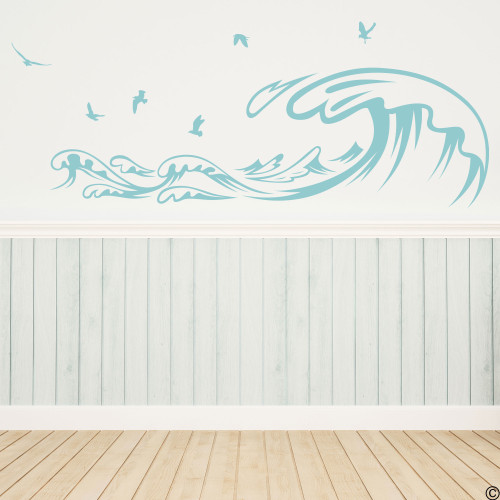 The Waves and Seagulls wall decal shown here in the limited edition beach house vinyl color.