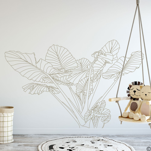 The Elephant Ear no.3 tropical plant wall decal shown here in limited edition tumbleweed vinyl.