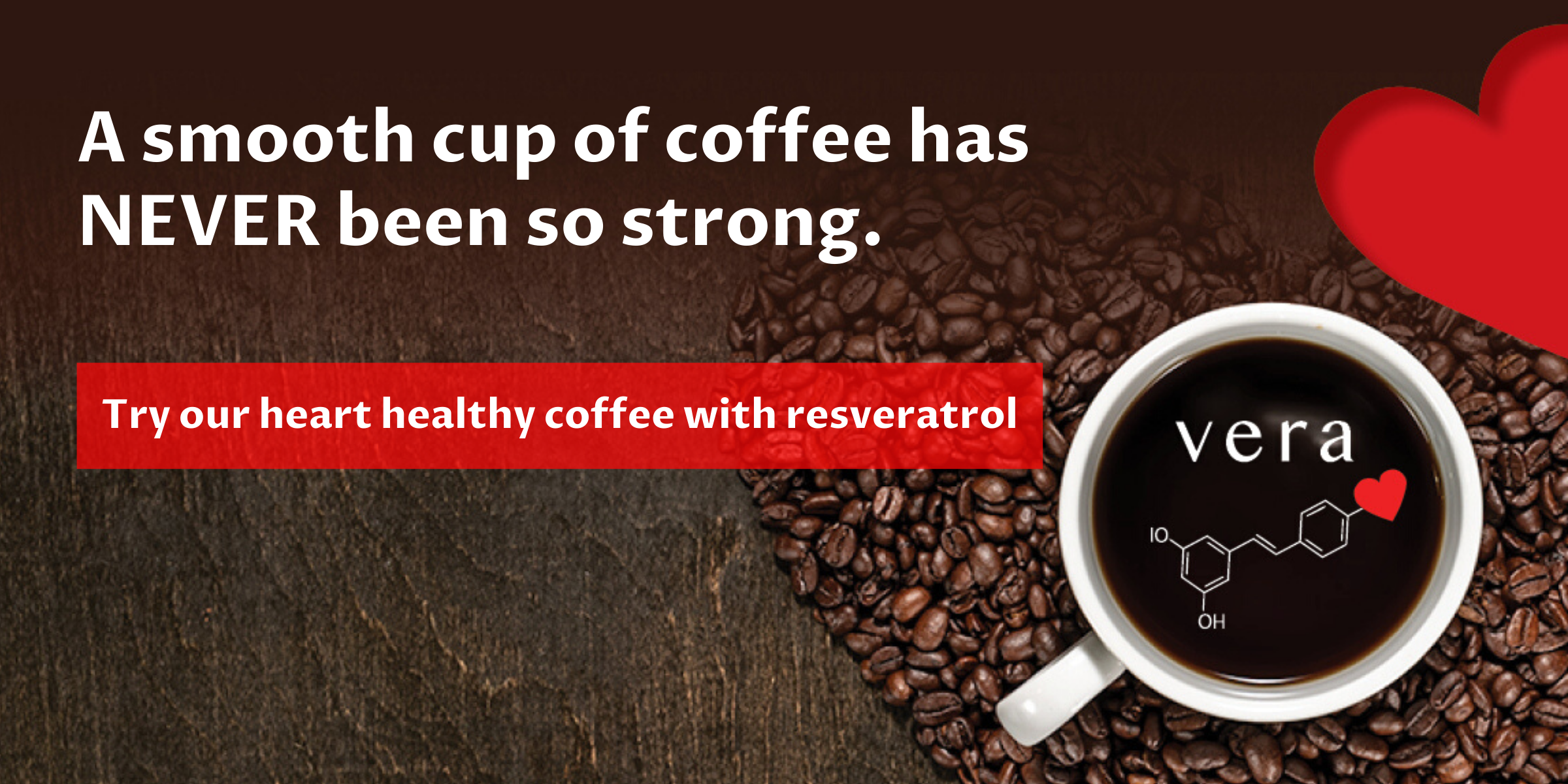 heart healthy coffee with resveratrol banner, coffee mug with logo
