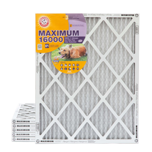 16x20x1 MERV 11 MAX Allergen Air Filter with Carbon for Odor Reduction by Arm & Hammer. 6 Pack