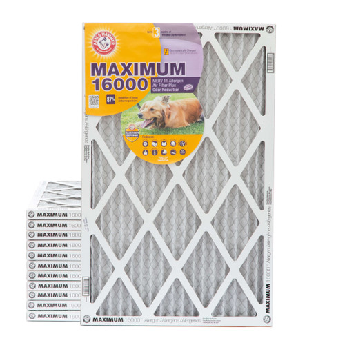 16x25x1 MERV 11 MAX Allergen Air Filter with Carbon for Odor Reduction by Arm & Hammer. Case of 12