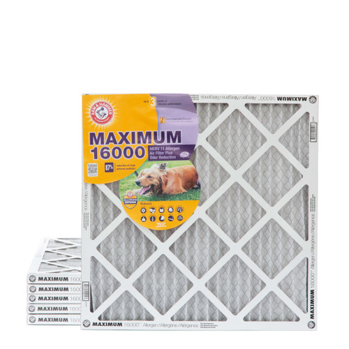 20x20x1 MERV 11 MAX Allergen Air Filter with Carbon for Odor Reduction by Arm & Hammer. 6 Pack