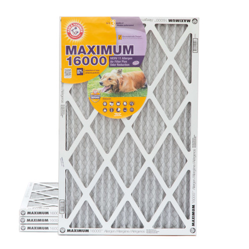 20x30x1 MERV 11 MAX Allergen Air Filter with Carbon for Odor Reduction by Arm & Hammer. 4 Pack