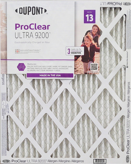 DuPont 16x25x1 MERV 13 ( MPR 1900-2200 ) ProClear ULTRA 9200 Allergen Plus Odor Reduction Air Filters.   Case of 12
