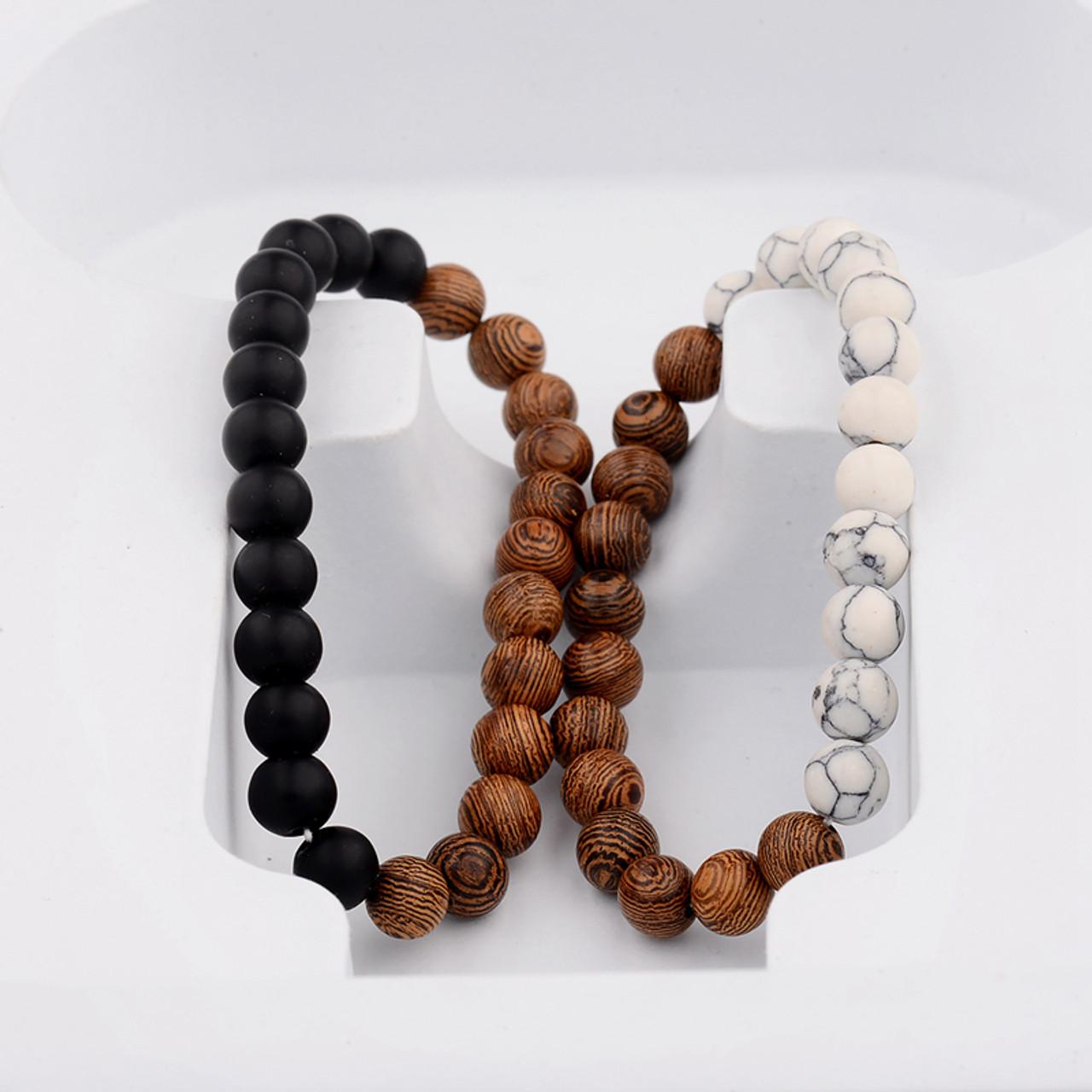 fc3cb6529 Black Matte & White Chakra Handmade Wooden Prayer Beads Bracelet Set ...