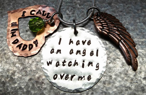 I Have An Angel 1 Inch Silver Circle With Copper Open Heart