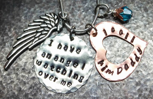 I Have An Angel Silver Circle With Copper Open Heart