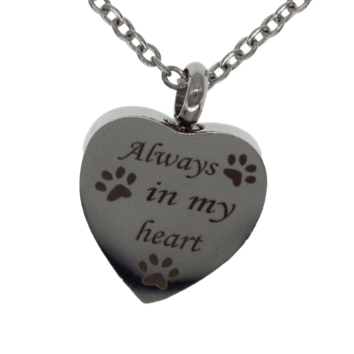 Always in My Heart with Paw Prints Pet Urn