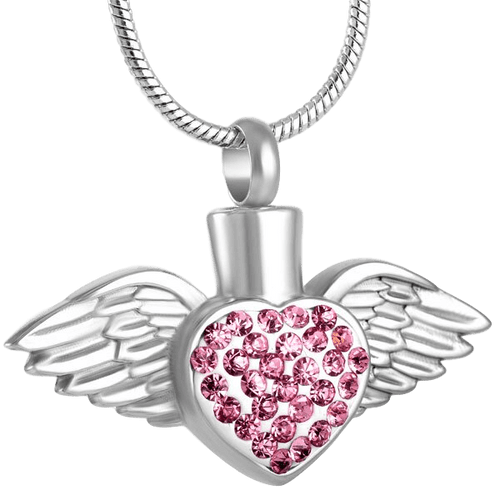 Silver Angel Heart Urn Pendant Pink