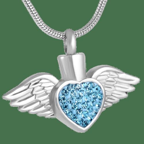Silver Angel Heart Urn Pendant Blue