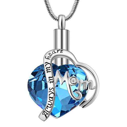 Always In My Heart Mom Blue Gem Urn