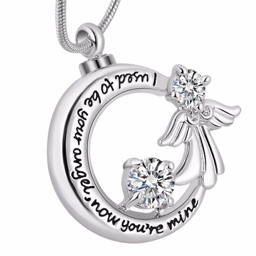 I Used To Be Your Angel Clear Stones Urn Necklace