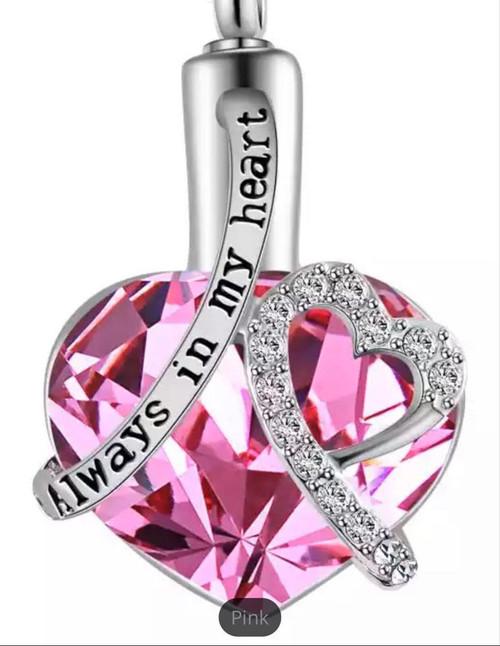 Always In My Heart Pink Gem Urn Necklace