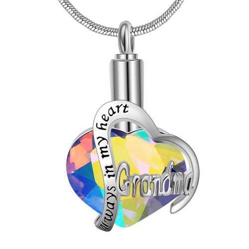 Rainbow Always In My Heart Grandma Urn Necklace