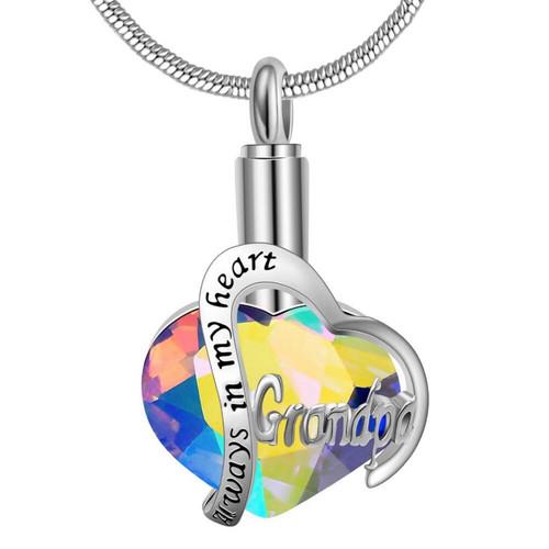 Rainbow Always In My Heart Grandpa Urn Necklace