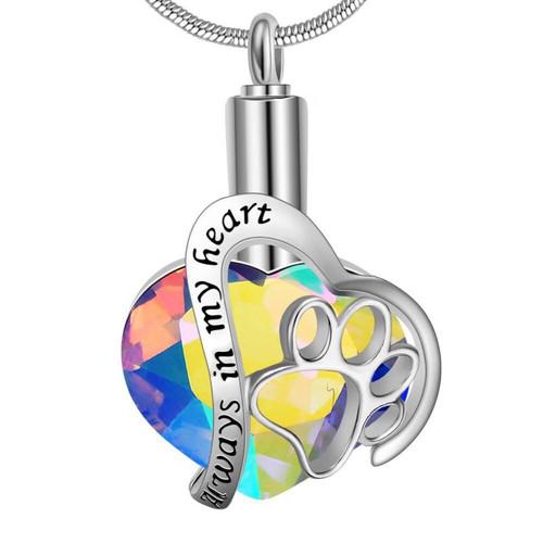 Rainbow Always In My Heart Pet Urn Necklace