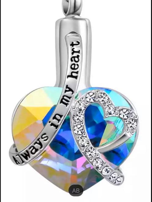Rainbow Always In My Heart Gem Heart Urn Necklace