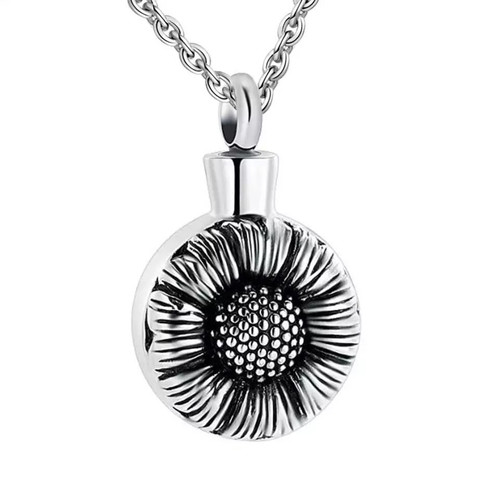 Sunflower Stainless Steel Memorial Urn Necklace