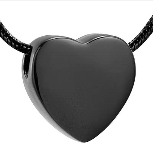 Black Heart Shaped Urn for Ashes