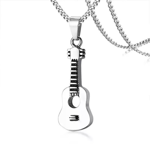 Silver Guitar Shaped Memorial Urn Necklace