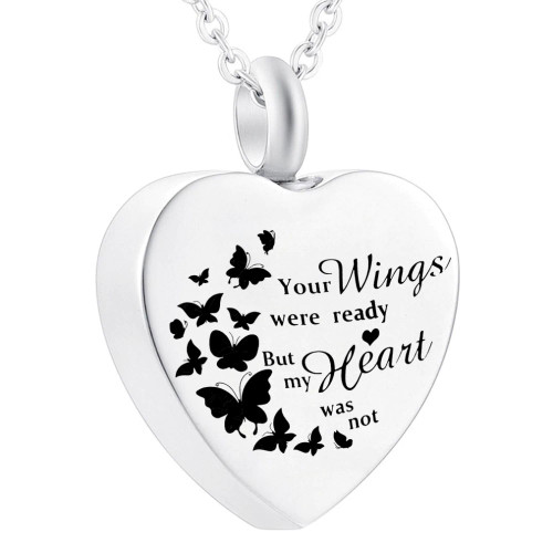 Your Wings Were Ready Heart with butterflies Urn for Ashes