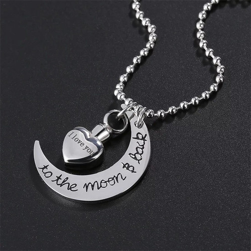 I love you to the moon and back urn memorial necklace