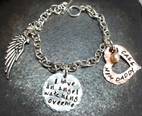 I Have An Angel Mixed Metal Open Heart Bracelet